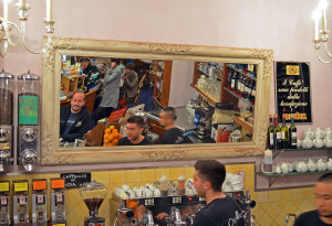 Standing at the coffee bar in Florence, Italy