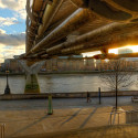 Millenium bridge underside at sunset, London, UK