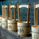 Line of pails at Temple