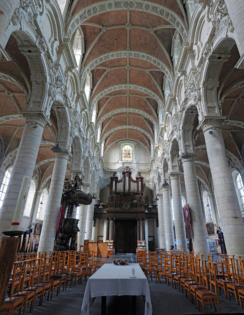 Church interior with AMAZING details of the organ and ceiling