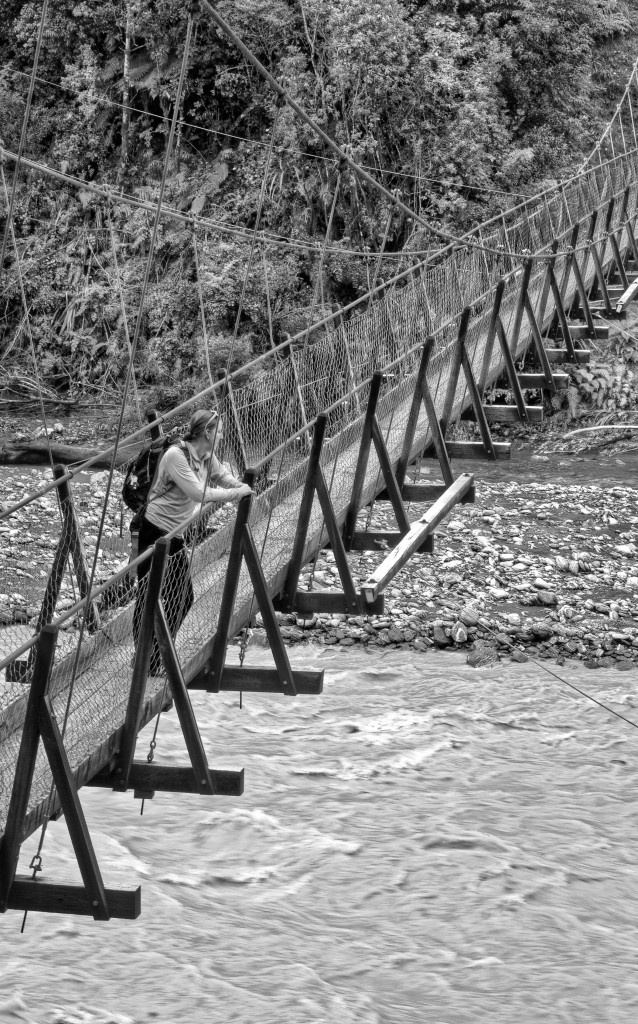 Beautiful woman contemplating life on a wooden suspension bridge.